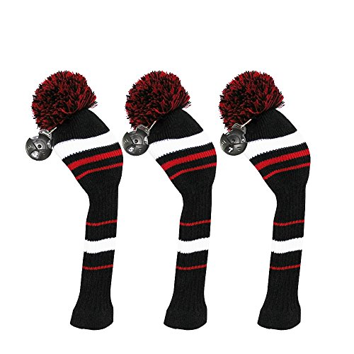 Scott Edward 3 Pieces Packed, Golf Fairway Wood Head Cover, Black Red White Stripes Style, Interchangeable Number Tags (Headcover Tiger White)