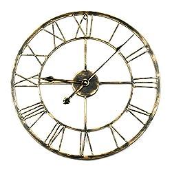Toright Decro Home Round Iron Metal Wall Clock Gold