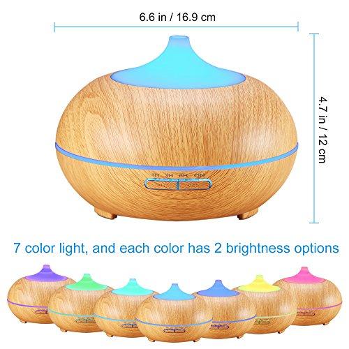 -[ AMIR 300ml Essential Oil Diffuser, Wood Grain Ultrasonic Humidifier, Cool Mist Air Purifiers wit
