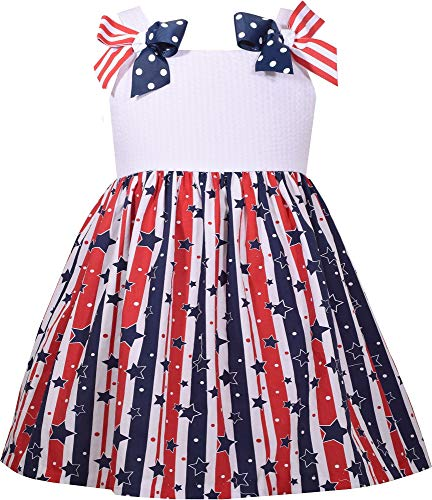 Bonnie Jean Toddler Girls Americana Stars and Stripes Dress 4T Blue/red/White