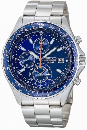 Seiko Men's SND255P1 Flightmaster Pilot Slide Rule Chronograph Watch ()