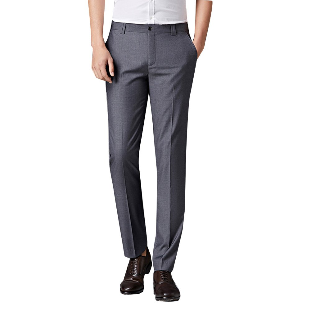 Zhuhaitf Mens Autumn Spring Straight Slim Suit Flat-Front Trousers Father Gift
