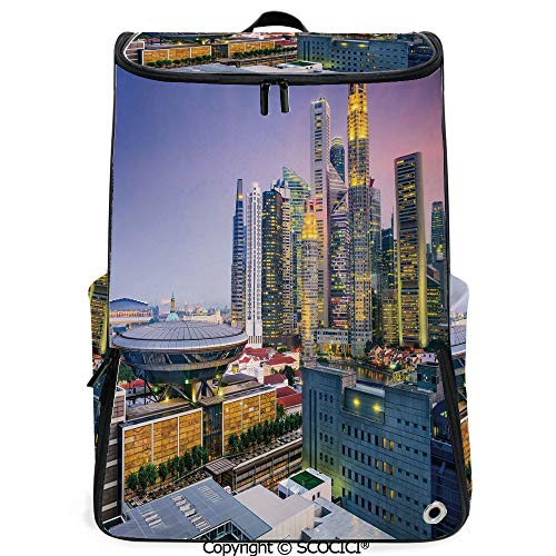 SCOCICI Large Casual Backpack,Skyline of Singapore at Evening Skyscrapers Stadium Active City Life Southeast Asia Decorative,Multicolor,Backpack with Shoes Compartment