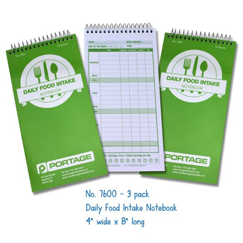 """Portage Daily Food Journal / Diet Calorie Journal Fits in Your Hand 4x8"""" (3 Pack)"""