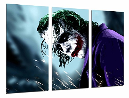 Cuadros Camara Multi Wood Printings Art Print Box Framed Picture Wall Hanging - (Total Size: 38 x 24.4 in), Batman and The Joker, Superhero - Framed and Ready to Hang - ref. 26591