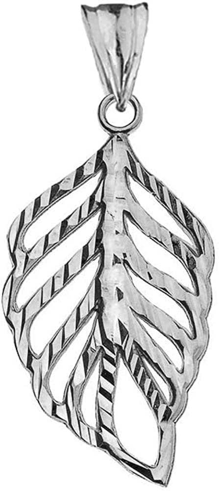 Elegant 10k White Gold Sparkle Cut Leaf Charm Pendant