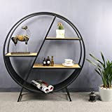 ZR- Shelf Round Wrought Iron Floor Racks Decorative Ornaments American Vintage Restaurant Wine Rack (Color : Round shelf)