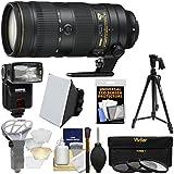 Nikon 70-200mm f/2.8E FL VR AF-S ED Zoom-Nikkor Lens with Flash + Tripod + 3 Filters + Soft Box + Diffuser + Kit