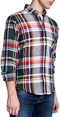 ALTONADOCK Camisa Cuadros 101660 para Hombre XL Naranja ...
