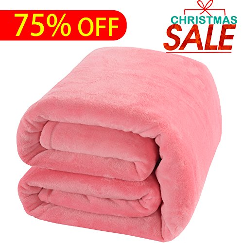 Twin Fleece - Shilucheng Fleece Soft Warm Fuzzy Plush Lightweight Twin (90-Inch-by-65-Inch) Couch Bed Blanket, Pink