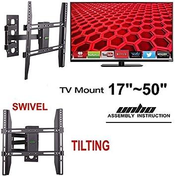 Soporte de pared para televisor de inclinación Unho 20° swivel 180 movimiento completo 22-50 pulgada para Samsung/LG/Mitsubishi/Sony/Sanyo LCD 3D de Plasma, de carga máxima 30 kg, Max VESA 400 x 400 mm: