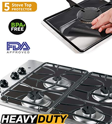 5 PACK PREMIUM Black Gas Stove Burner Covers - Stove Top Liner - Gas Range Protector - Stove Burner Covers - Double Thickness 0.2mm - Reusable & Dishwasher Safe. SET (Black Gas Burner)