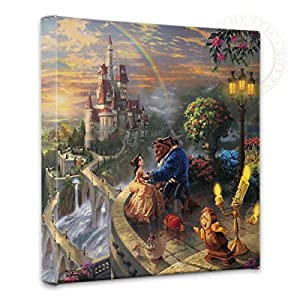 Thomas Kinkade – Gallery Wrapped Canvas, Beauty and The Beast Falling in Love, 14″ x 14″, 55392