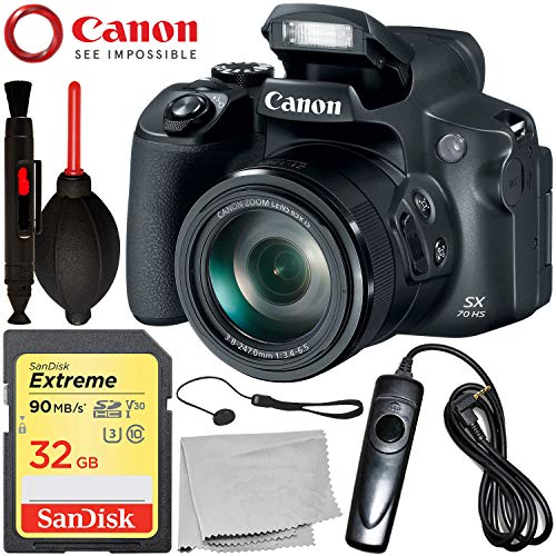 Canon PowerShot SX70 HS Digital Camera with Starter Accessory Bundle – Includes: SanDisk Extreme 32GB SDHC Memory Card + Wired Shutter Remote + Lens Cap Keeper + More – (Certified Refurbished)