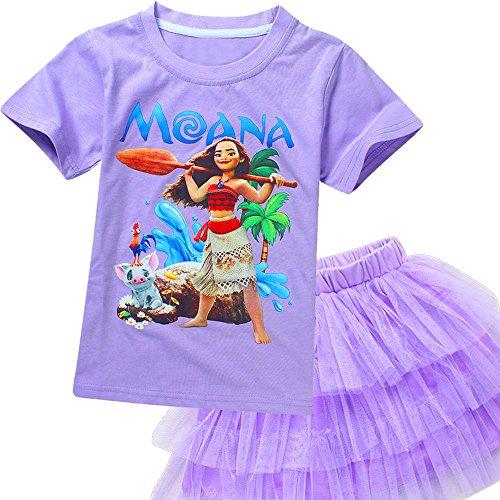 AOVCLKID Moana Little Girls 2Pcs Suit Cartoon Shirt and Skirt Set