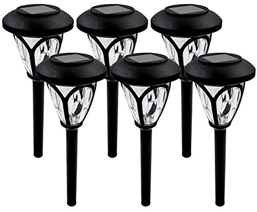 Solar Pathway Lights Outdoor Garden Path Decorative Stake Light Landscape Home Decor Sogrand Waterproof Bright White LED Yard Decorations Stakes For Outside Walkway Driveway Patio 6Pack