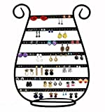 ARAD Earring Organizer/Jewelry Holder Display Rack Stand - Organize 78 Pairs of Stud, Dangle, and Hoop Earrings - Metal with Black Finish, Harp-Shaped
