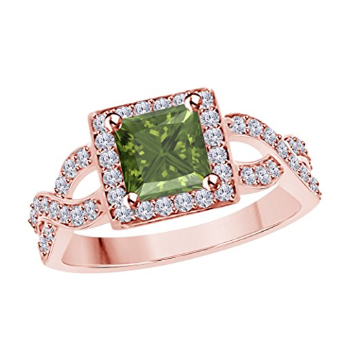 DreamJewels 2.00 Ct Princess Cut Halo Pave Eternity Lab Created Dark Green Peridot & White CZ Split Shank Engagement Ring in 14k Rose Gold Plated Size 4-12