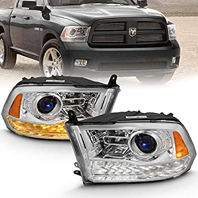 AmeriLite Projector Headlights for 2009-2020 Dodge Ram 1500 2500 3500 w/LED DRL Switchback White and Amber Parking Turn Signal - Passenger and Driver Side: Automotive