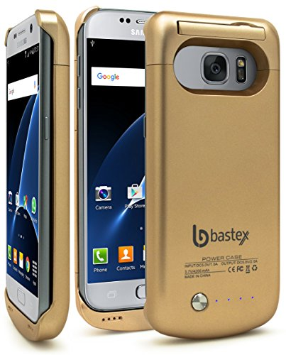 Bastex Galaxy S7 Battery case, Rechargeable High Capacity Battery Charger Power, Hard Gold Plastic Protective Shell, 4200mAh, Slim-Fit Durable Rugged Design with Kickstand for Samsung Galaxy S7.