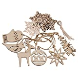 eZAKKA Wooden Ornaments Hanging Embellishments Crafts Hanging Ornament Set for Wedding Valentine's Day gift DIY Christmas Tree Xmas Decorations with Strings,Pack of 16