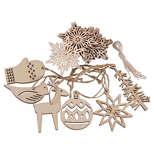eZAKKA Christmas Ornaments Wooden Xmas Tree Hanging Tags Pendant Embellishments Crafts Decor for Christmas Tree Holiday Decorations Wedding with Strings, Pack of - Christmas Natural Tree Ornaments