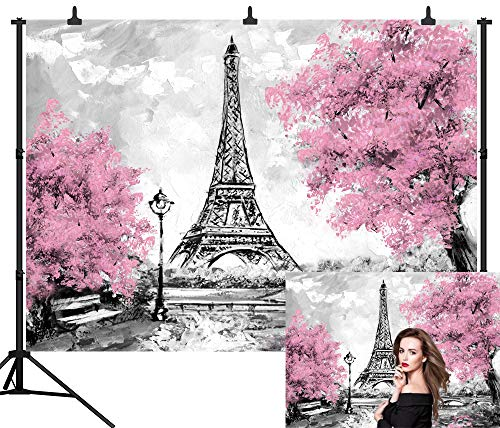 DePhoto 9X6FT(270X180CM) Eiffel Tower Seamless for Party Seamless Vinyl Photography Backdrop Photo Background Studio Prop PGT345B -