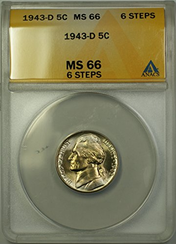 1943 D Jefferson Wartime Silver 5c Coin (RL) Light Toning 6 Steps Nickel MS-66 ANACS