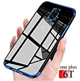 mobistyle Electroplating Soft Silicone Transparent TPU Back Case Cover for OnePlus 6T (Blue)