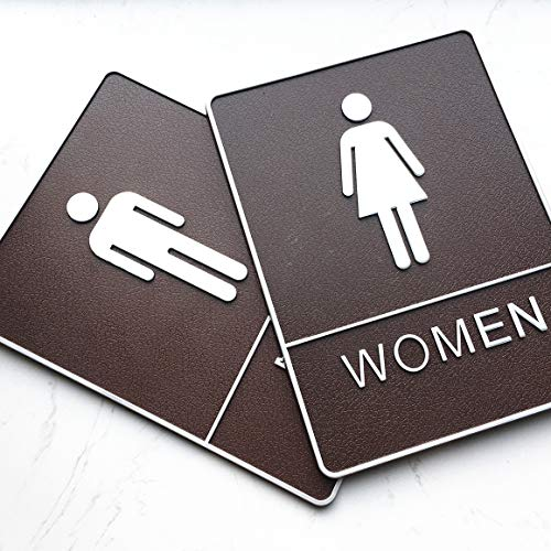 2 Pack Toilet Signs Sticker Restroom Plaque for Bathroom Door Decor Man & Woman WC 3D Self Stick Signage 6x8 inch -