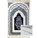 Orthopedic Padded Foam Cushion Muslim Prayer Rug - Thick Velvet Islamic Namaz Sajadah Janamaz Carpet (Blue)