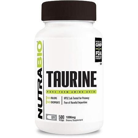 NutraBio Taurine Supplement 500 Vegetable Capsules, 1000 mg per Capsule