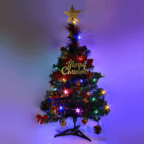 """24""""/60cm Tabletop Xmas Tree, Artificial Mini Christmas Pine Tree with LED String Lights & Ornaments (Green)"""