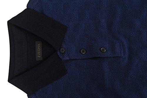 Z Zegna Polo Poloshirt Herren Blau Regular Fit Baumwolle Abendmode 3XL