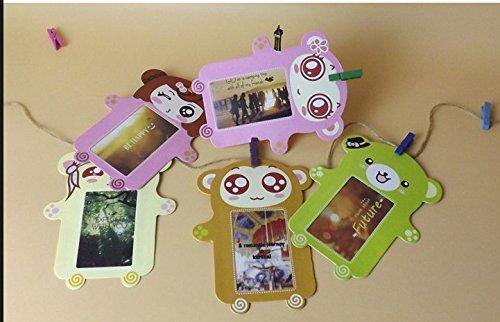 "Instax Mini Photo Frame, 2x3"" Decor Hang Paper Photo Frame for Fujifilm Instax mini 8,7S,25,50S,90 Instant Camera Films, Polaroid Photo Frame (Bear, 6 Pcs)"