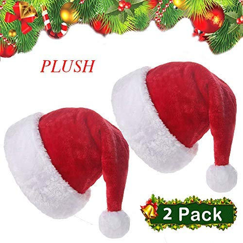 (Z-Tala- 2019 Santa Hats for Adults-Velvet Santa Hats with Plush Trim-Comfort Liner Santa Hat-Red -2 Pack)