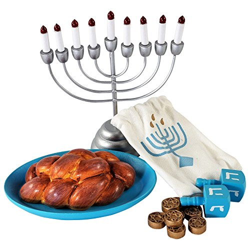 Girl Dreidel (The Queen's Treasures Hanukkah Play Set! Menorah with 9 Removable Candles, Dreidel, 6 Pieces of Chanukah Gelt, Star of David Platter & Challah Fits 18