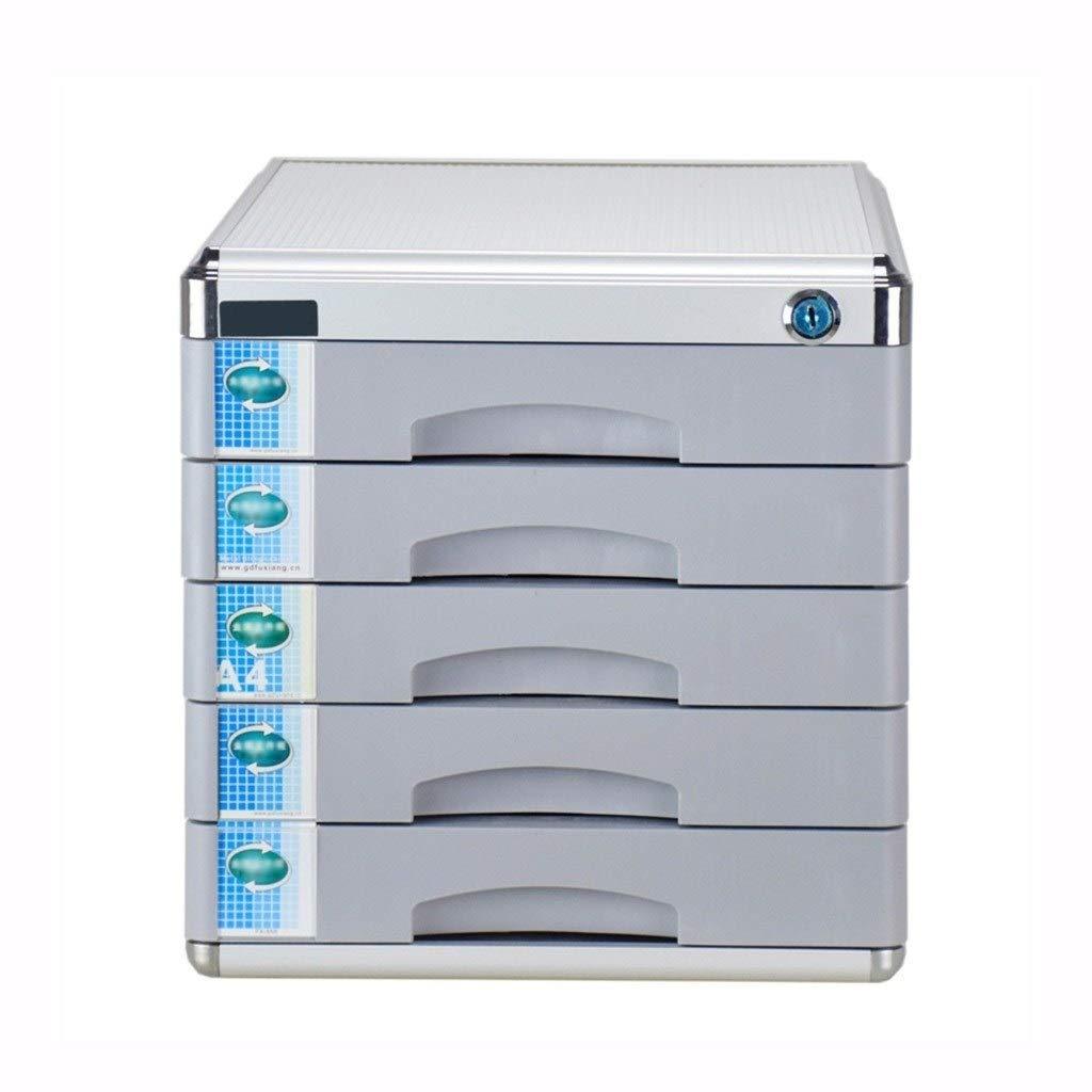 Bxwjg Desktop File Cabinet, Aluminum Alloy 5-Layer Storage Box Drawer Lockable Desktop Drawer Organizer 303630.8cm (Colour-Grey) by Bxwjg