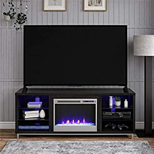 """Ameriwood Home Lumina Fireplace TV Stand for TVs up to 70"""" (Black Oak)"""
