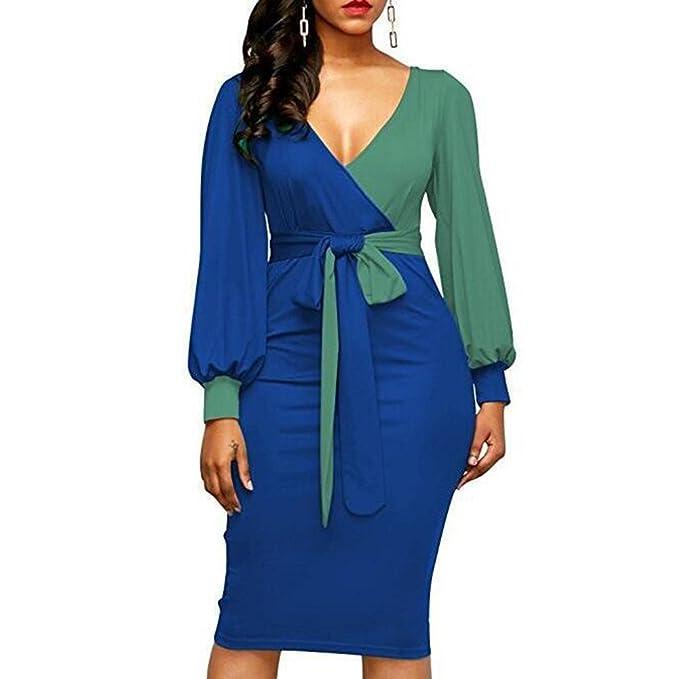 hibote Vestidos de cóctel de las mujeres de las señoras Sexy vestido de manga larga con cuello en v Patchwork Color fiesta vestidos ajustados: Amazon.es: ...