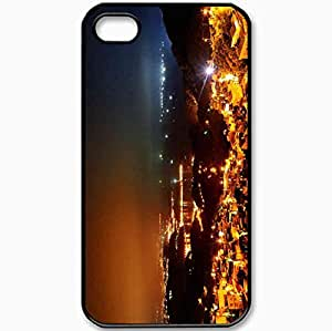Protective Case Back Cover For iPhone 4 4S Case Night Lights Hills Reflection Sea Black