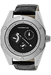 Morphic Men's 'M46 Series' Quartz Stainless Steel and Leather Casual Watch, Color:Black (Model: MPH4602)