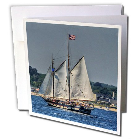 Masted Three Ship (3dRose Roni Chastain Sea Scapes - Sailing 3 masted ship, American Flag at top - 1 Greeting Card with envelope (gc_98402_5))