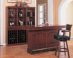 Inland Empire Furniture Sean Brown Carved Wood Panel Traditional Bar Unit W Sink