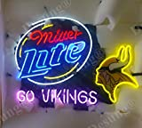 Desung New 32''x24'' Go Vikings Miller Lite Neon Sign (Multiple Sizes) Man Cave Bar Pub Beer Handmade Neon Light EX14