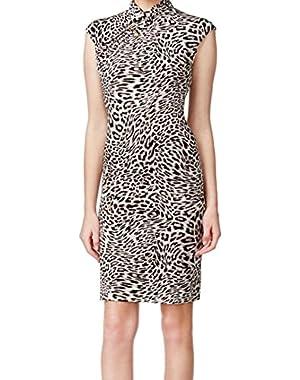 Calvin Klein Animal Print Women's Stand-Collar Sheath Dress Brown 2