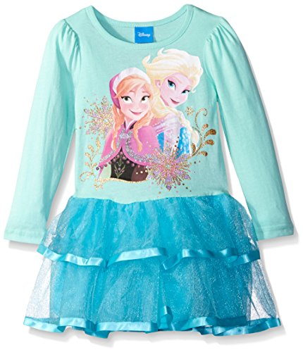 Disney Frozen Sisters (Disney Little Girls Frozen Sisters Long Sleeve Tutu Dress, Aqua Verde, 4)