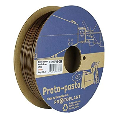 "Proto-Pasta Metallic HTPLA""Double Espresso"" Brown 3D Printing Filament 1.75mm 500g"