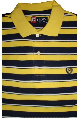 Chaps By Ralph Lauren (Men's Chaps by Ralph Lauren Polo Shirt Short Sleeved Available in Many Sizes & Colors (Small, Yellow/Navy))
