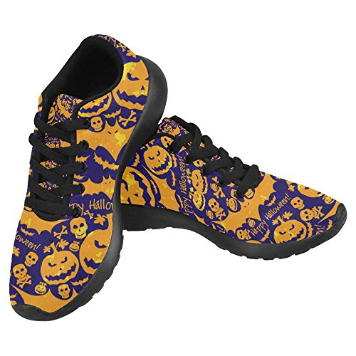Interestprint Women's Jogging Work Shoes Lightweight Sport Running Sneaker Flats - Halloween Skull (Halloween Shoes)
